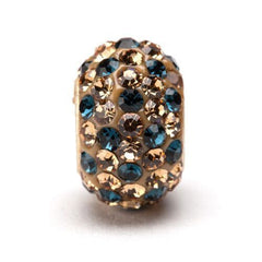 Light Gold with Navy Spotted Crystal Bead Charm (2 MOQ)