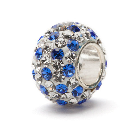Clear with Blue Spotted Crystal Bead Charm (2 MOQ)