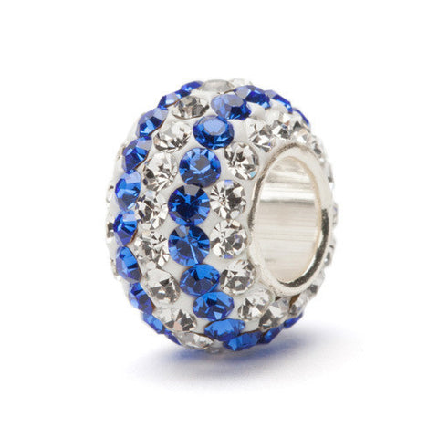 Clear and Blue Striped Crystal Bead Charm (2 MOQ)
