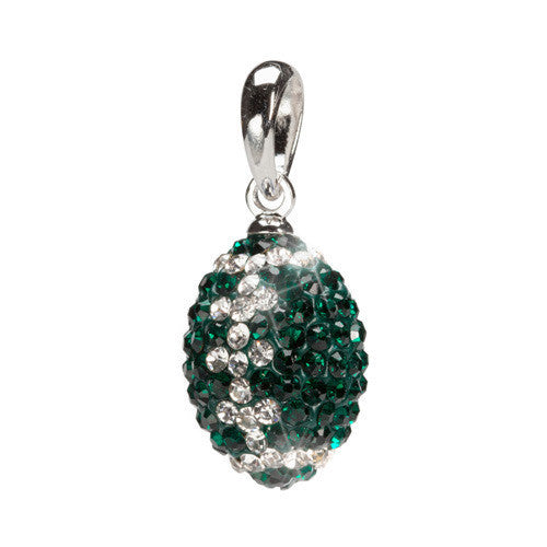 Green and Clear Crystal Football Charm Pendant (MOQ 2)