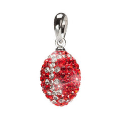 Red and Clear Crystal Football Pendant Necklace (2 MOQ)