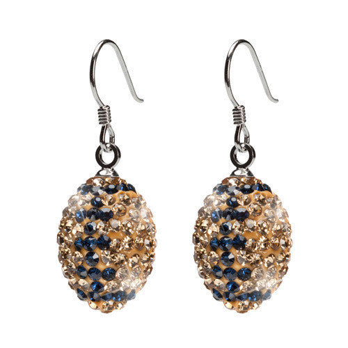 Gold and Navy Crystal Football Earrings (MOQ 2)