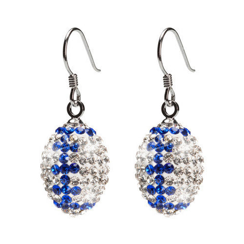 Clear and Blue Crystal Football Earrings (MOQ 2)