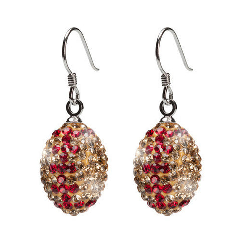 Gold and Crimson Crystal Football Earrings (MOQ 2)