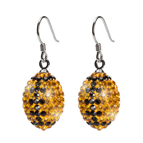 Gold And Black Crystal Football Earrings (MOQ 2)