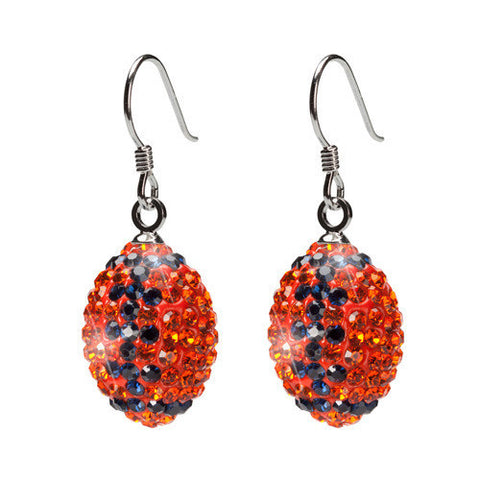 Orange and Navy Crystal Football Earrings (MOQ 2)