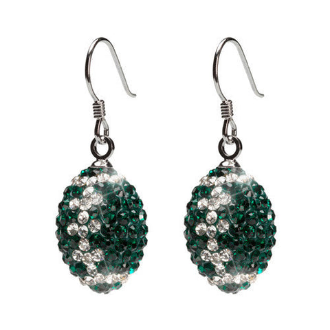 Green and Clear Crystal Football Earrings (MOQ 2)