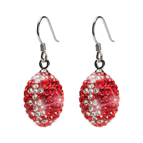 Red and Clear Crystal Football Earrings (2 MOQ)