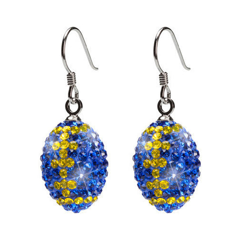 Blue with Yellow Crystal Football Charm Earrings (MOQ 2)