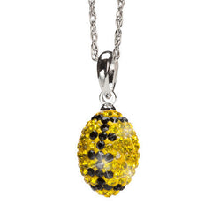 Yellow and Black Sterling Silver Crystal Football Pendant Necklace (MOQ 2)