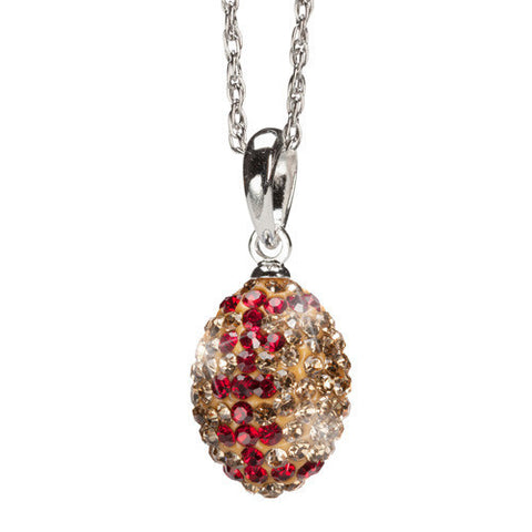 Gold and Crimson Crystal Football Charm Pendant Necklace (MOQ 2)