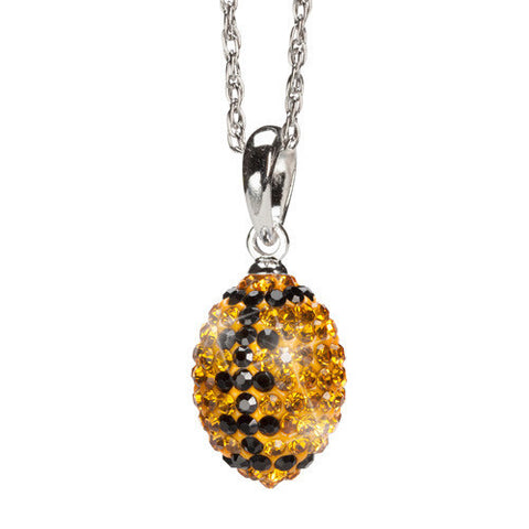 Gold and Black Crystal Football Charm Pendant Necklace (MOQ 2)