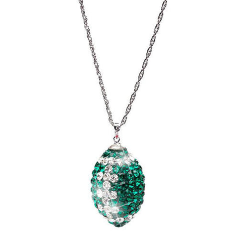 Green Football Crystal Necklace (MOQ 2)