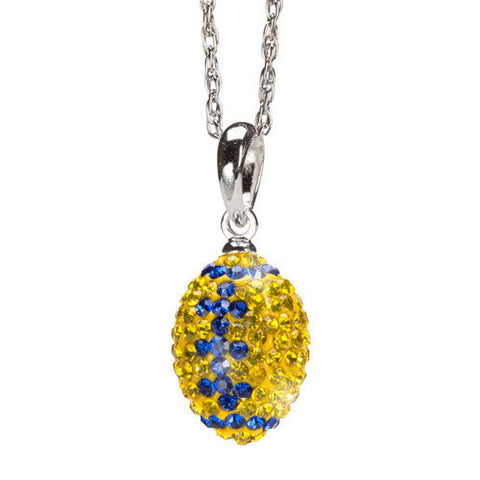 Yellow with Blue Crystal Football Charm Pendant Necklace MOQ 2)
