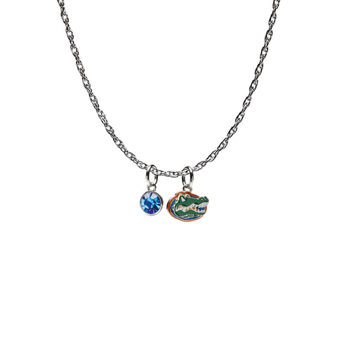 <B><I>NEW!</B></I> Florida Gators Necklace with Blue Crystal (MOQ 2)
