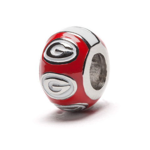 Georgia Bulldogs Round Red Bead Charm (MOQ 2)