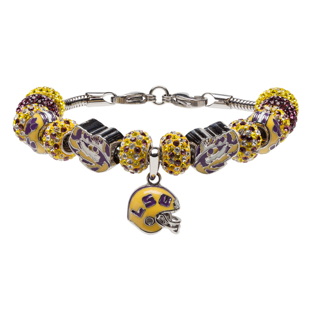 LSU Love Purple Live Gold Charm Bracelet