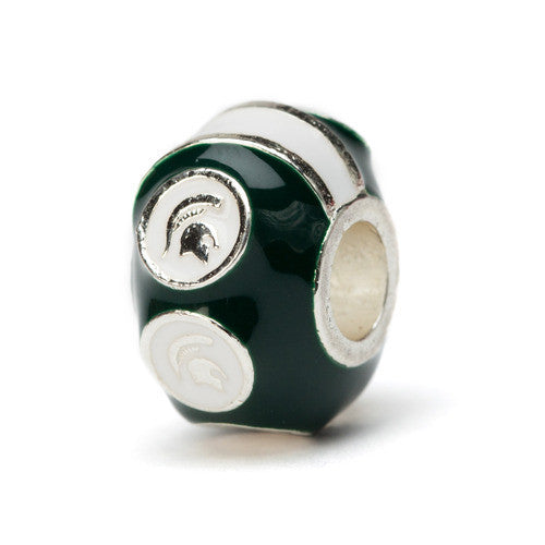 Michigan State 6 Spartan Charm Bead Green (MOQ 2)