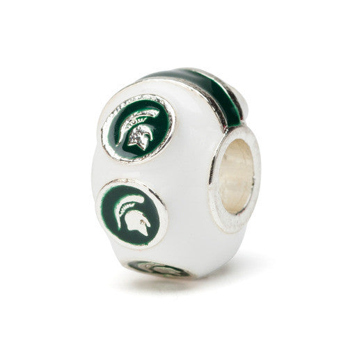 Michigan State 6 Spartan Charm Bead White (MOQ 2)