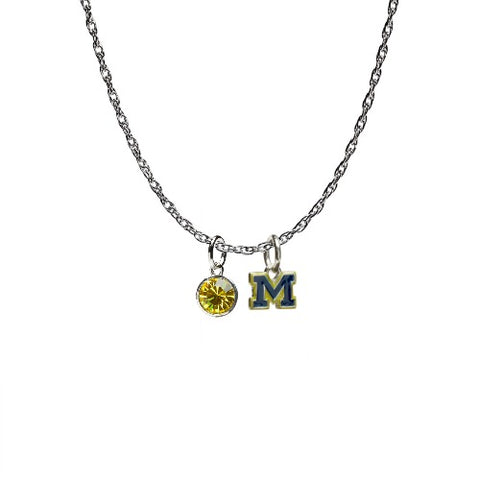 <B><I>NEW!</B></I> Michigan Wolverines Blue M Charm Necklace