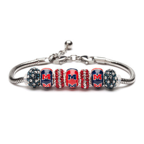 University of Mississippi Rebels Bead Charm Bracelet