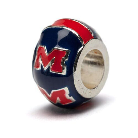 Mississippi Rebels Blue with Crimson M Logo Bead Charm (MOQ 2)