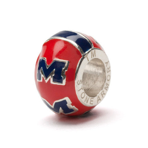 Ole Miss Round Crimson With Blue Bead Charm (MOQ 2)