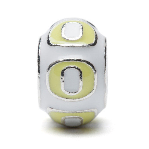 Oregon Round White with Yellow O Bead Charm (MOQ 2)