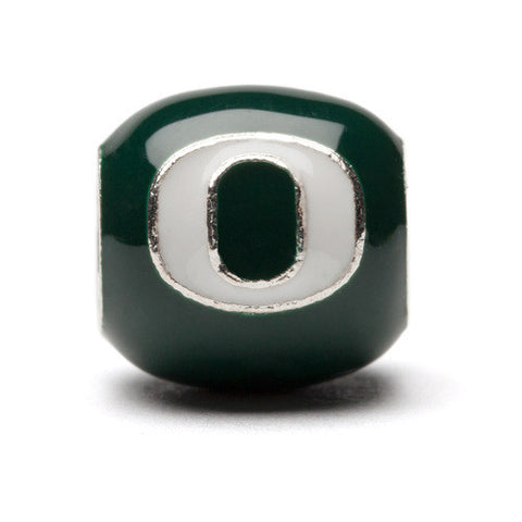 Green with White Oregon Block O Bead Charm - Stainless Steel (MOQ 2)
