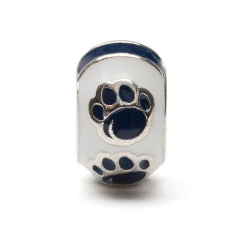 Penn State Round With Blue Paw Bead Charm (MOQ 2)
