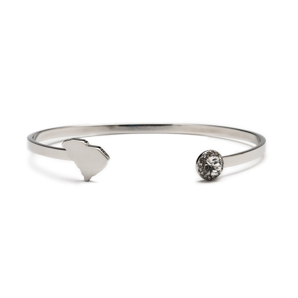 South Carolina State Map Bangle Bracelet - Stainless Steel (MOQ 2)