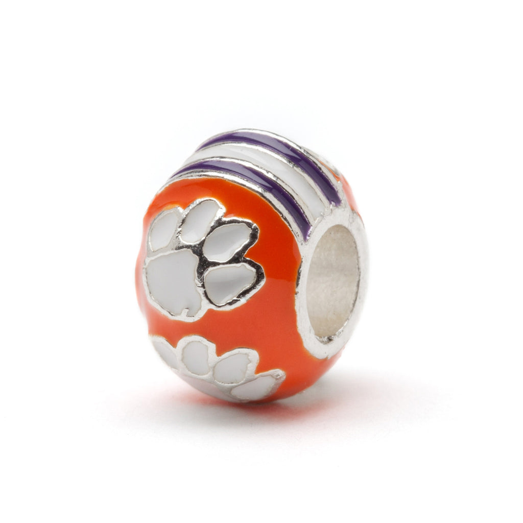 Clemson Tigers Round Orange Paw Bead Charm (MOQ 2)
