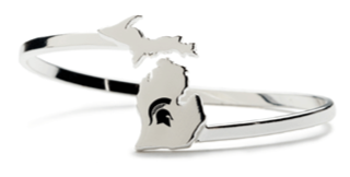 <B><I>BEST SELLER!</B></I> MSU Spartan Stainless Steel Bangle Bracelet (5 MOQ)