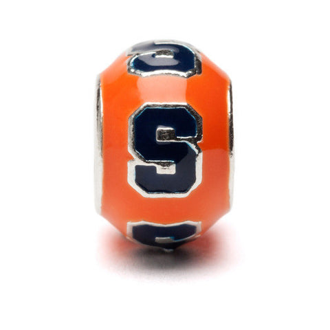 Orange and Navy Round Syracuse Bead Charm (MOQ 2)