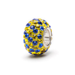 Yellow and Blue Striped Crystal Bead Charm (MOQ 2)