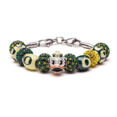 Oregon Ducks Green and Yellow Bead Charm Bracelet Jewelry