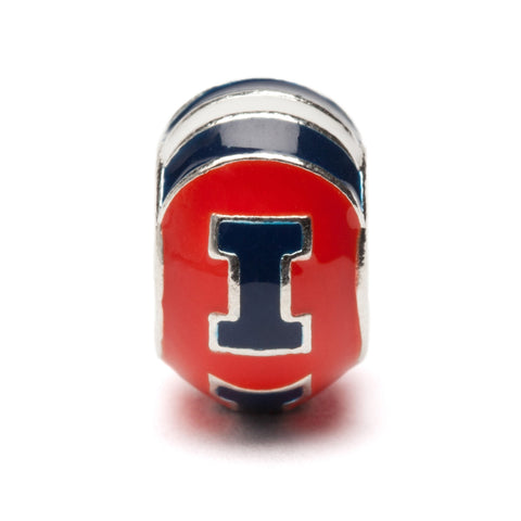Orange and Navy Illinois Bead Charm - Fits Pandora (MOQ 2)