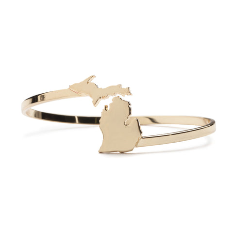 Love Michigan Bracelet Bangle - Gold Plated (MOQ 5)