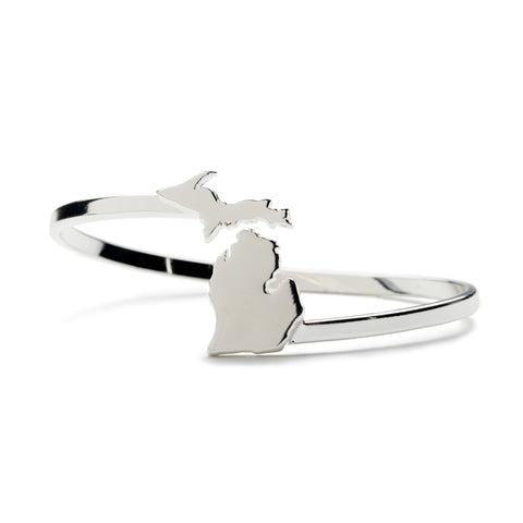 <B><I>BEST SELLER!</B></I> State of Michigan Wrap Bangle Bracelet - Silver Plated (MOQ 5)