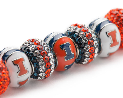 Illinois Fighting Illini Bead Charm Bracelet