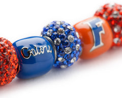 Florida Gators Orange and Blue Bead Charm Bracelet