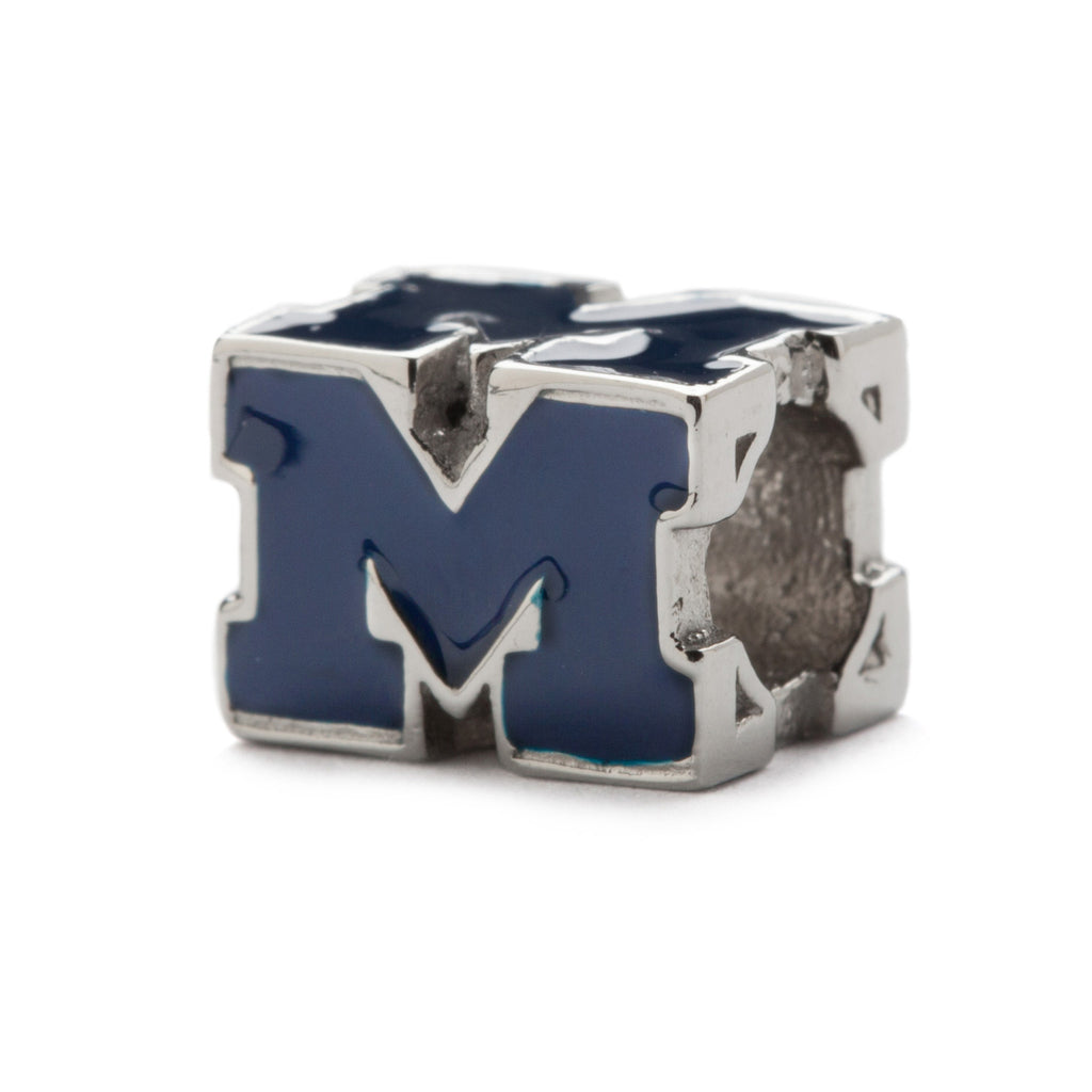 <b>NEW!</b> Michigan Wolverines M Go Blue Block Bead Charm (MOQ 2)