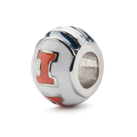 White and Navy Illinois Round Bead Charm (MOQ 2)