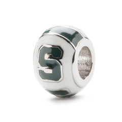 <B><I>NEW!</B></I> MSU Spartans White Round S Charm (MOQ 2)