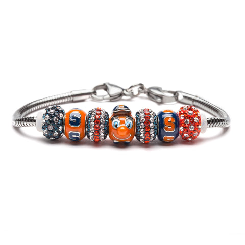 Syracuse University Orange and Navy Bead Charm Bracelet Jewelry