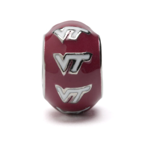 Maroon and White VT Stainless Steel Bead Charm (MOQ 2)