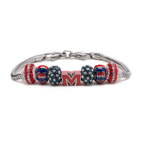 Ole Miss Red Block M Bead Charm Bracelet