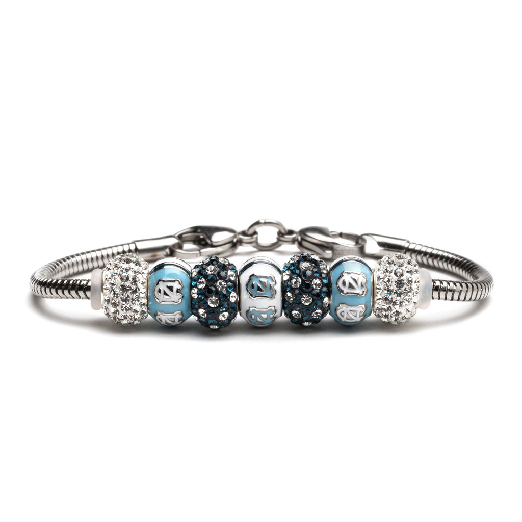 UNC Tarheels Carolina Blue and White Bead Charm Bracelet