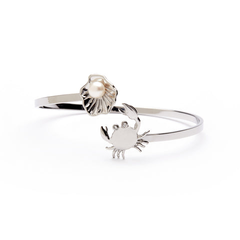 Oyster with Pearl and Crab Bangle Wrap Bracelet - Stainless Steel (MOQ 2)