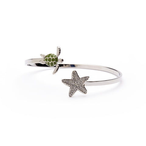 Stainless Steel Turtle and Starfish Bangle Bracelet - Austrian Crystal (MOQ 2)